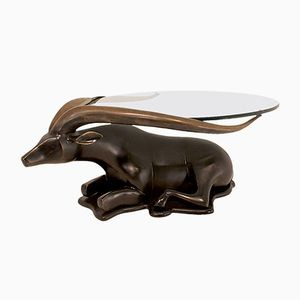 Bronze & Glass Sculptural Antelope Coffee Table, 1980s
