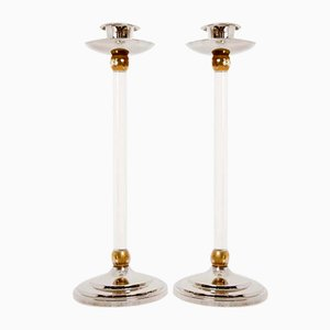 Brass & Plexiglas Candleholders by Estrid Ericson, 1960s, Set of 2