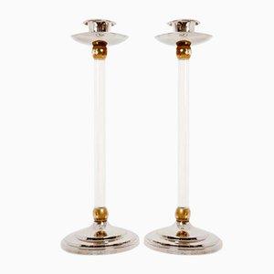 Kerzenhalter aus Messing & Plexiglas von Estrid Ericson, 1960er, 2er Set