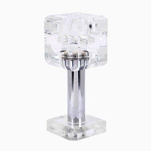 Lámpara Cube de plexiglás y acero inoxidable, años 70