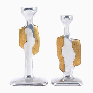 Brustalist Aluminum & Brass Candlesticks by David Marshall, 1970, Set of 2