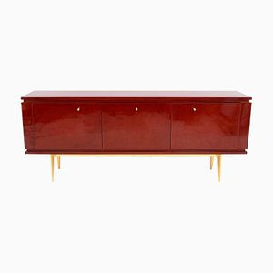 Red Lacquered Rosewood Veneer Sideboard, 1960s