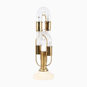 Lampe de Bureau Vintage en Verre, Laiton et Marbre par Aldo Nason pour Mazzega, 1960s