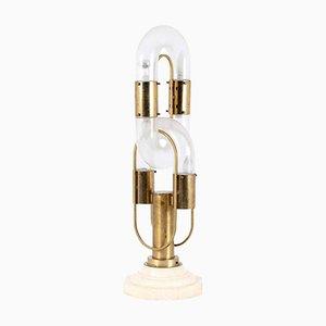 Vintage Tischlampe aus Glas, Messing & Marmor in Ketten-Optik von Aldo Nason für Mazzega, 1960er