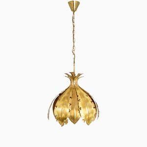 Flower-Shaped Gilt Brass Pendant from Holm Sørensen & Co., 1970s