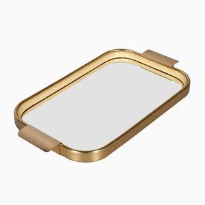 Bandeja de servicio de aluminio dorado, espejo y caucho de Carlo Sarpa, años 60