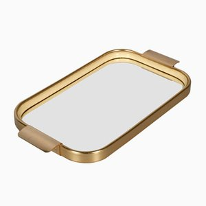 Gilt Aluminium, Mirror & Rubber Serving Tray by Carlo Sarpa, 1960s