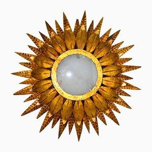 Goldene spanische Mid-Century Deckenlampe aus Eisen