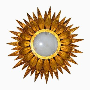 Mid-Century Spanish Gold Iron Ceiling Light