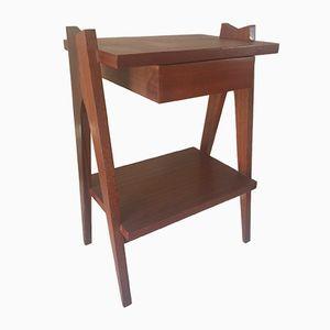 Vintage Nachttisch mit Kompass-Füßen, 1960er