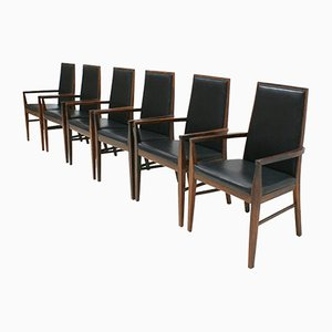 Mid-Century Danish Modern Rosewood and Leather Armchairs from Dyrlund, Set of 6