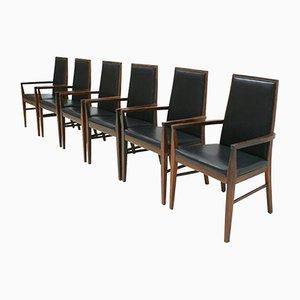 Moderne dänische Mid-Century Armlehnstühle mit Gestell aus Palisander & Ledersitz von Dyrlund, 6er Set