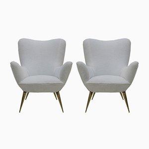 Italienische Mid-Century Sessel mit Gestell aus Messing & weißem Bezug aus Baumwolle, 1950er, 2er Set