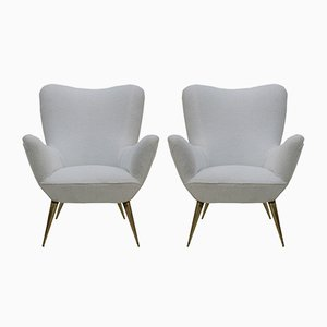 Mid-Century Italian Brass & White Cotton Lounge Chairs, 1950s, Set of 2