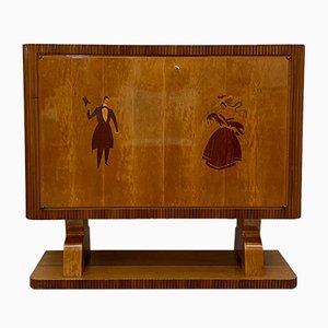 Mueble bar italiano Art Déco vintage, años 40