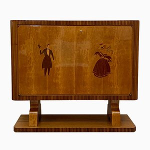 Vintage Italian Art Deco Maple Bar Cabinet , 1940s