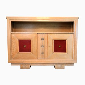 Vintage Oak Cabinet with Leather Panels by Charles Dudouyt, 1948