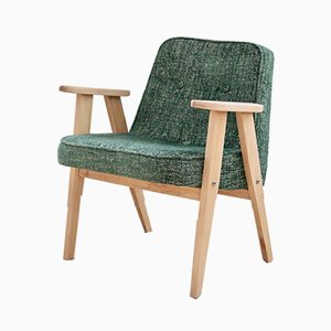 Vintage Model 366 Melange Green Armchair by Józef Chierowski