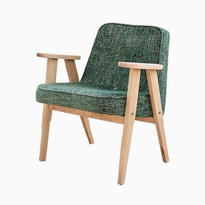 Vintage Modell 366 Sessel mit Bezug in gemischten Grün-Tönen von Józef Chierowski