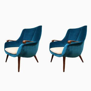 Vintage Danish Ocean Blue Velvet Armchairs, Set of 2