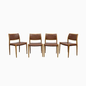 Vintage Danish Model No. 80 Dining Chairs by Niels O. Møller for J.L. Møller Møbelfabrik, 1950s, Set of 4