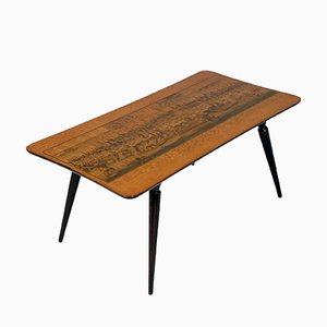 Tavolino da caffè di Paolo Buffa per Cantù e stampa di di Johann Friedrich Probst, anni '30