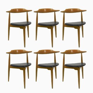 FH4103 Heart Chairs by Hans J. Wegner for Fritz Hansen, 1960s, Set of 6