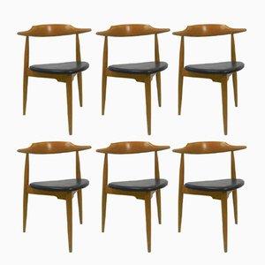 FH4103 Stühle in Herz-Optik von Hans J. Wegner für Fritz Hansen, 1960er, 6er Set