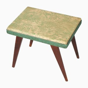 Art Deco Walnut and Plasticized Printed Fabric Stool by Gio Ponti, 1940s
