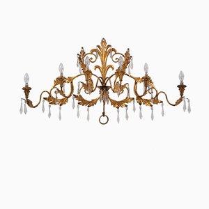Lámpara de pared italiana vintage de cristal y pan de oro con seis brazos, años 50