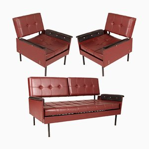 Italian Cubist Iron & Faux Leather Armchairs and Daybed, 1960s