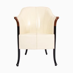 Vintage Italian Progetti Cream Leather Armchair from Giorgetti, 1980s