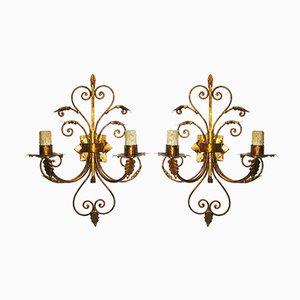 Goldene Wandlampen aus Eisen, 1950er, 2er Set