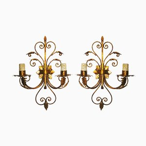 Lampade da parete in ferro dorato, anni '50, set di 2