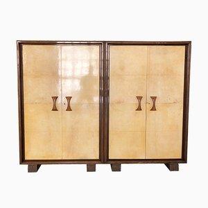 Art Deco Italian Parchment Wardrobe from Valzania, 1930s