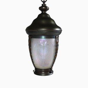 Lámpara colgante holandesa modernista de vidrio y latón, década de 1900
