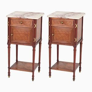 French Louis XV Style Mahogany Nightstands, 1920s, Set of 2
