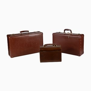 Vintage Cardboard & Leatherette Trunks, 1950s, Set of 3