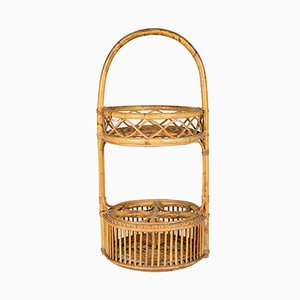Italian Wicker Bottle Rack, 1950s