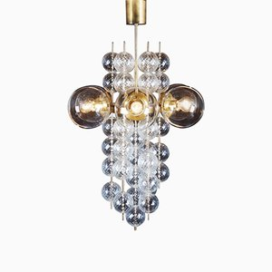 Large Brass & Crystal Chandelier from Kamenický Šenov, 1960s