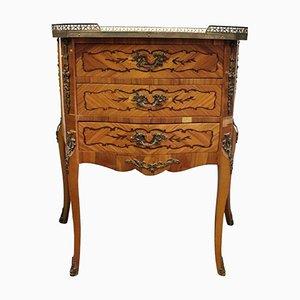 Tavolino vintage in bronzo e legno intarsiato, anni '30