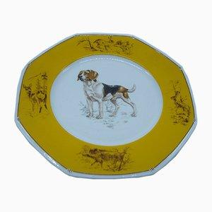 Piatto Beagle in porcellana di Hermès, anni '80