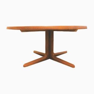 Danish Solid Teak Round Coffee Table, 1970s