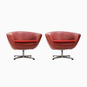 Vintage Red Swivel Chairs by Miroslav Navrátil, 1970s, Set of 4