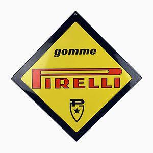 Emailliertes Pirelli Gomme Schild aus Porzellan, 1980er