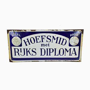 Emailliertes Vintage Hoefsmid met Rijks Diploma Schild aus Porzellan
