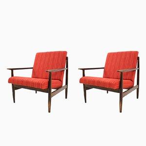 Rote Vintage Armlehnstühle, 1970er, 2er Set