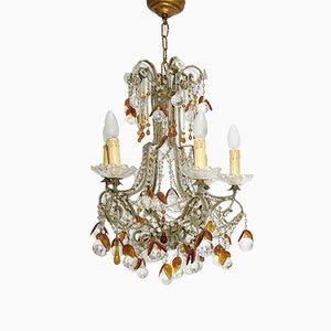 Lámpara de araña checa de cristal, años 20