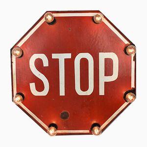 Lámpara de pared con señal de Stop vintage esmaltada, años 50