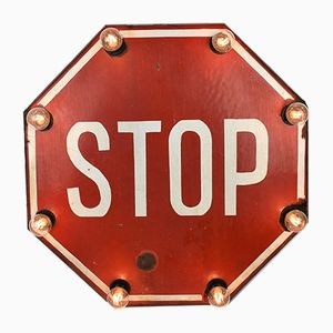 Vintage Enamelled Stop Sign Wall Light, 1950s
